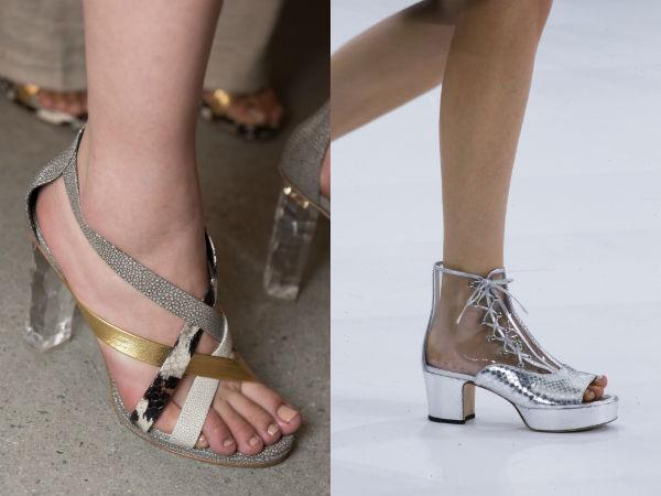 Sandalias de tacón alto de moda con elementos transparentes