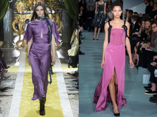 vestido lilás elegante longo