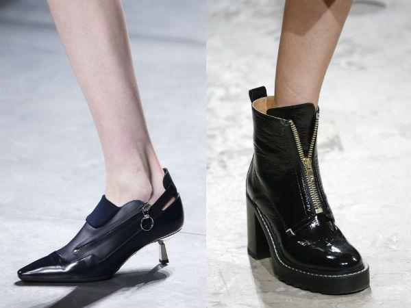 calçados de couro com zíperes