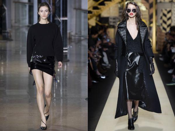 comprimento moda inverno outono de couro preto 2016 2017