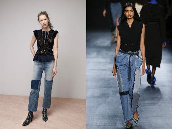 Jeans otoño invierno 2016 2017: tejidos combinados