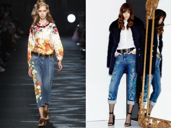 Elegante jeans florescido desenhos