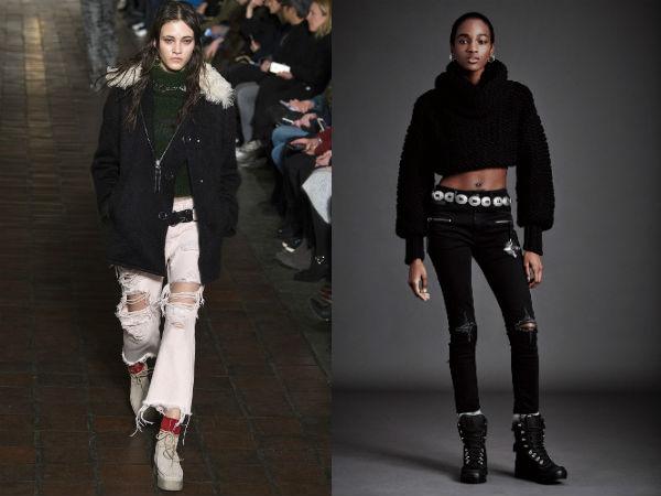Mulheres rasgadas jeans outono 2016 inverno 2017