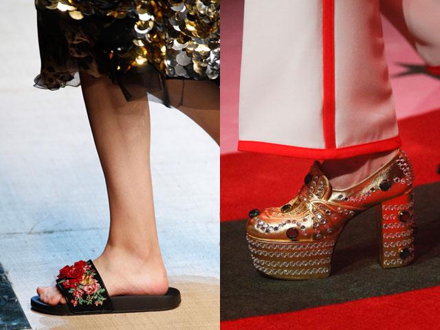 disegni calzature con elementi decorativi di moda