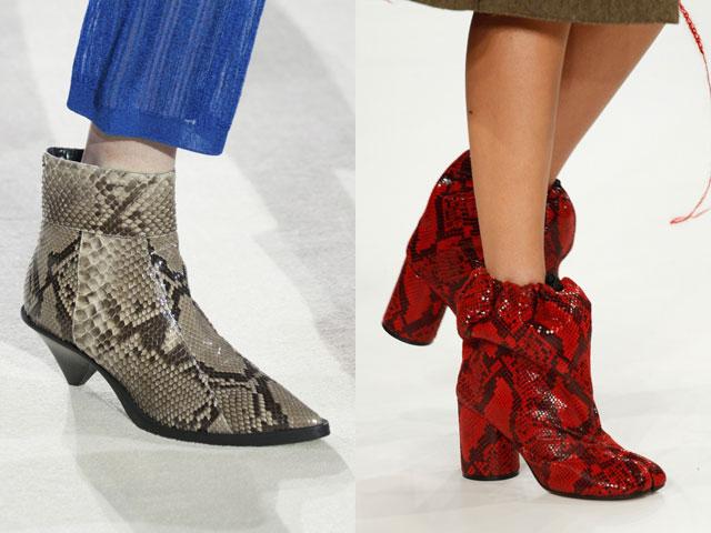 Tendências de calçado para mulher 2018 pele de réptil