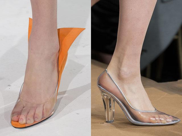 Calçado de calcanhar transparente