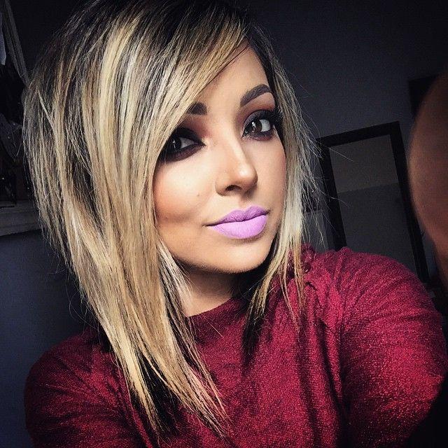 Cortes de cabelo com franja angular 2018